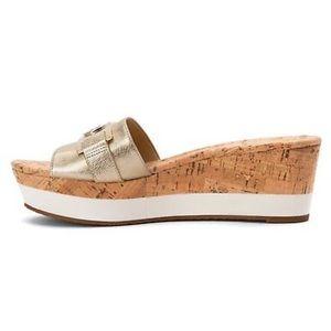 dec824cad68 MICHAEL Michael Kors Shoes - MK WARREN PLATFORM WEDGE SLIDE SANDAL GOLD GOLD